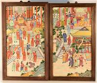 Pair Chinese Export Porcelain Plaque with Figural Scene