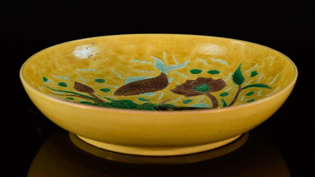 Chinese Sancai Porcelain Dish with Fish Scene