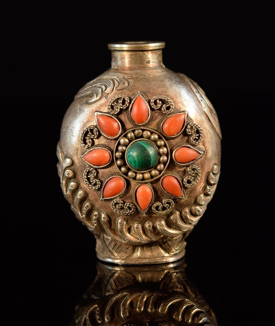 Chinese Mongolian Silver Snuff Bottle with Coral Inlay