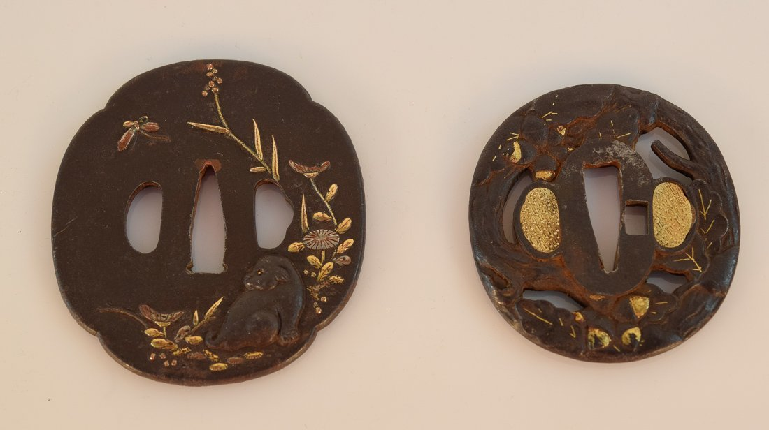 Group of Two Japanese Iron Tsuba with Mixed Metal Inlay