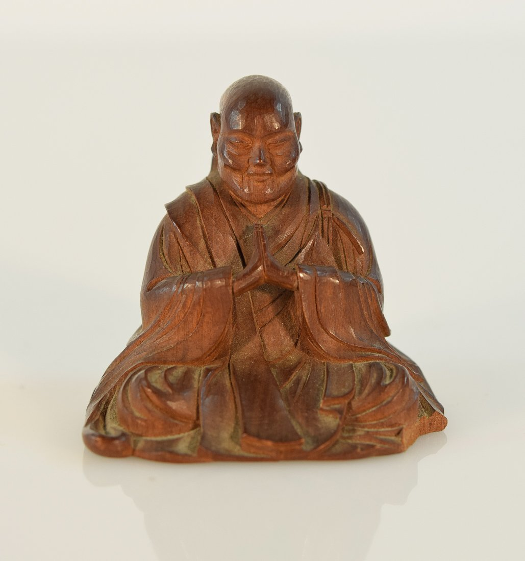 Japanese Carved Sandal Wood Monk