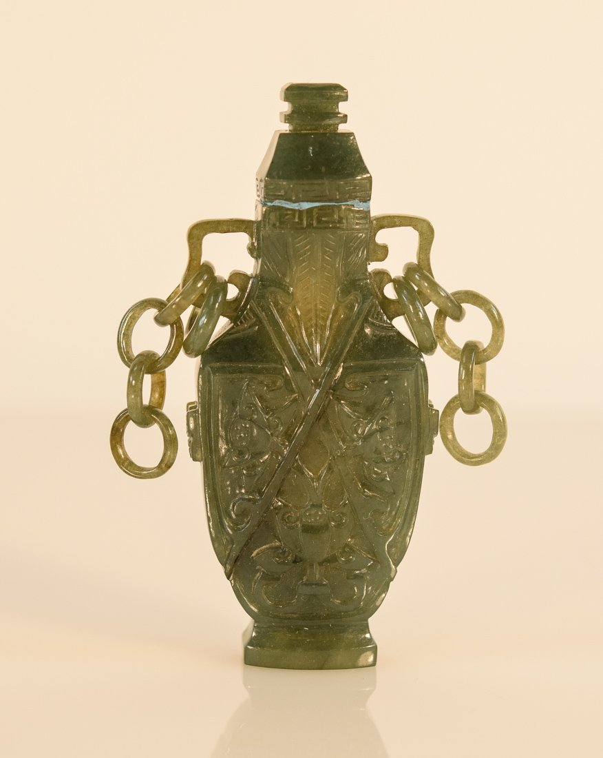 Chinese Jadeite Vase with Chain on the Side