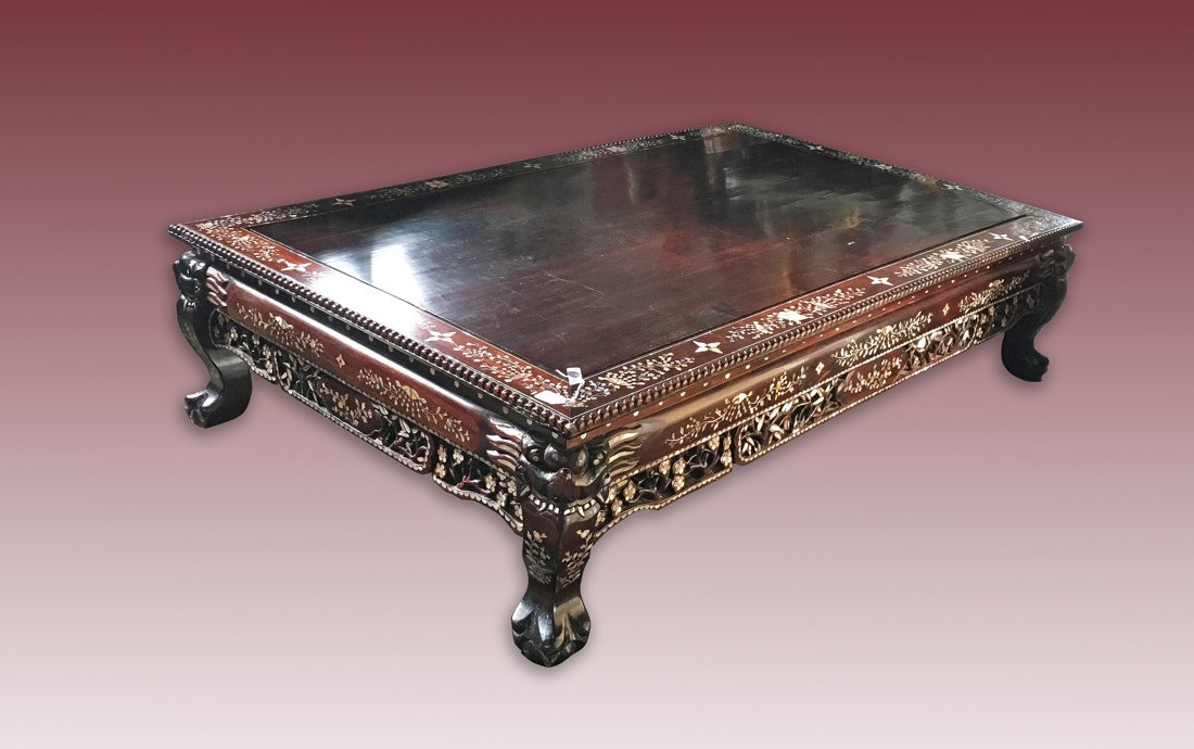 Large Chinese Rosewood Low Table with Mother of Pearl
