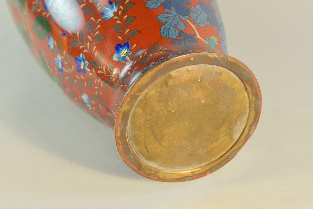 Japanese Cloisonné Vase with Floral Scene - 10