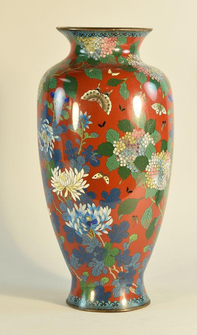 Japanese Cloisonné Vase with Floral Scene