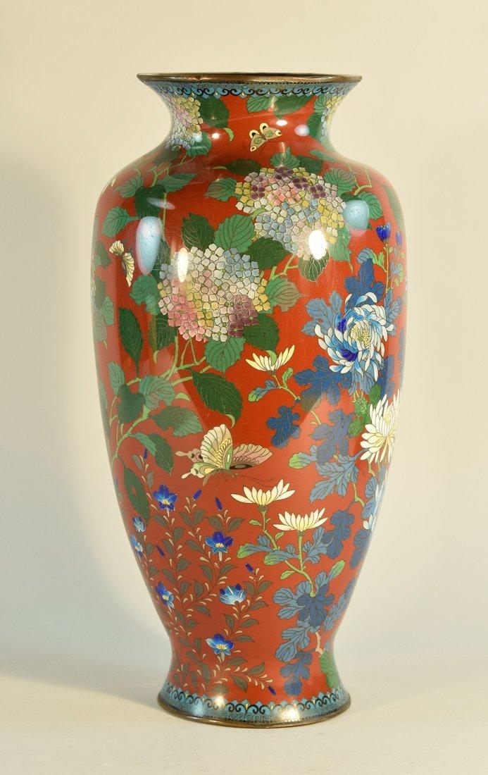 Japanese Cloisonné Vase with Floral Scene - 2