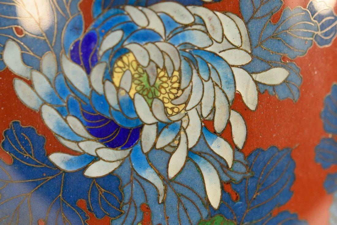 Japanese Cloisonné Vase with Floral Scene - 4