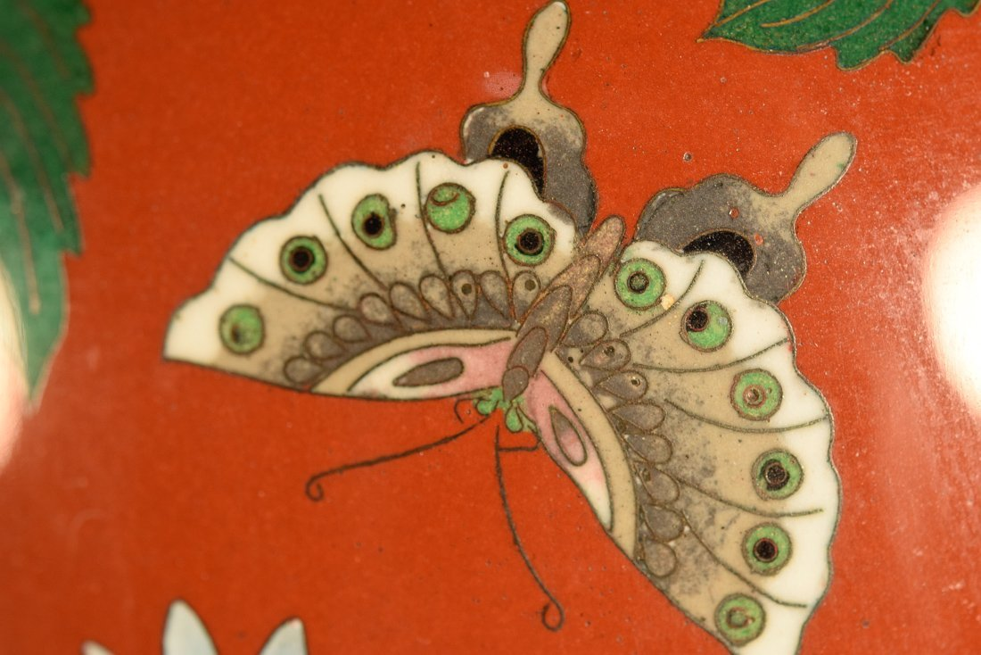 Japanese Cloisonné Vase with Floral Scene - 5