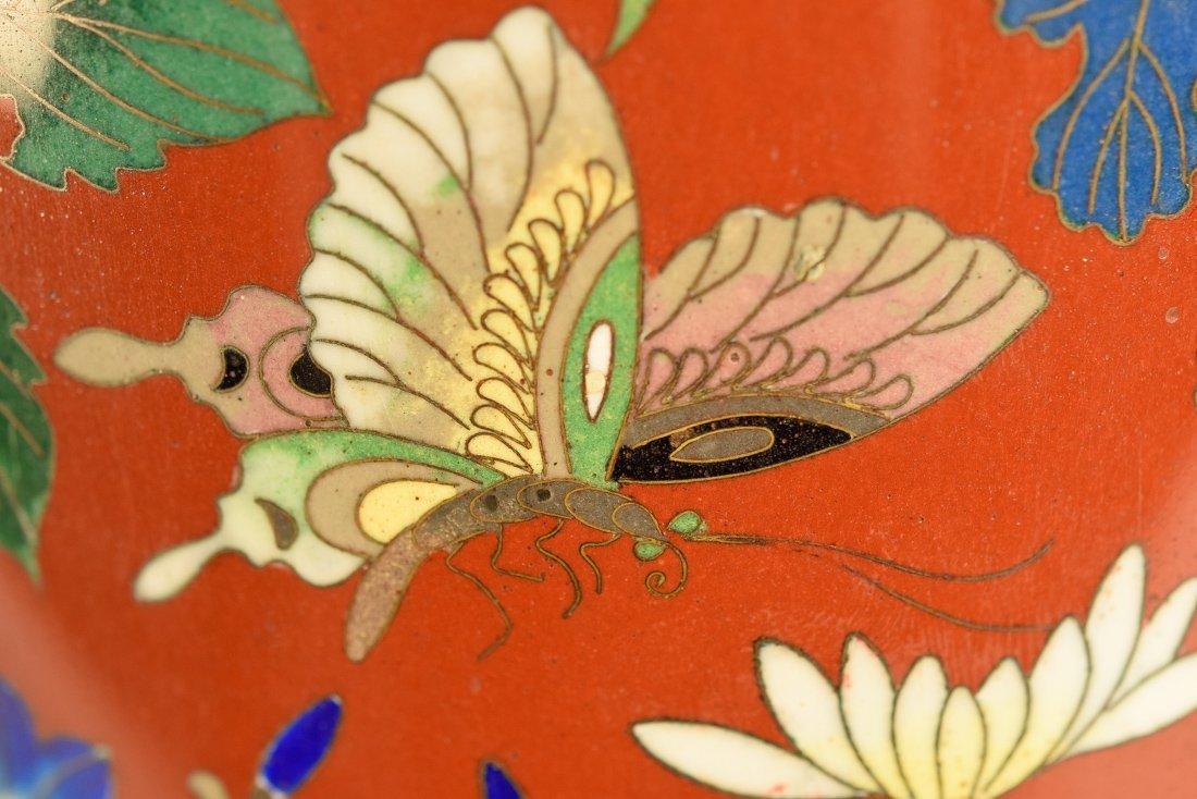 Japanese Cloisonné Vase with Floral Scene - 6