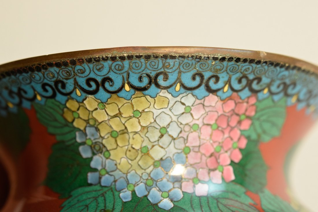 Japanese Cloisonné Vase with Floral Scene - 7