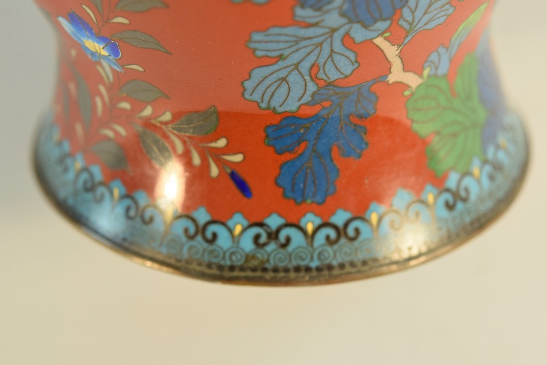 Japanese Cloisonné Vase with Floral Scene - 9