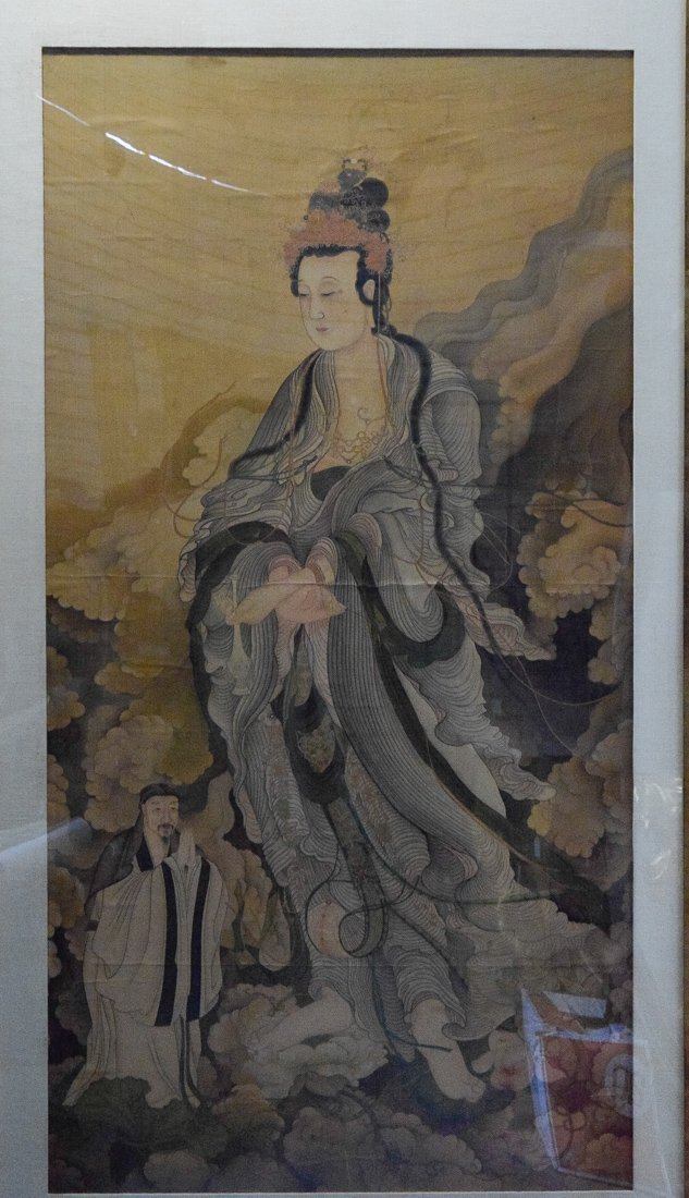 Large Chinese Painting of Kuanyin and Attendant