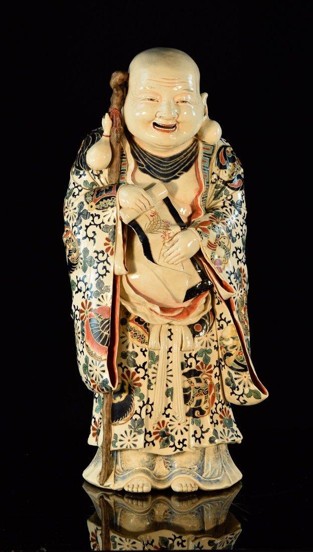Stunning Japanese Satsuma Hotei Figurine