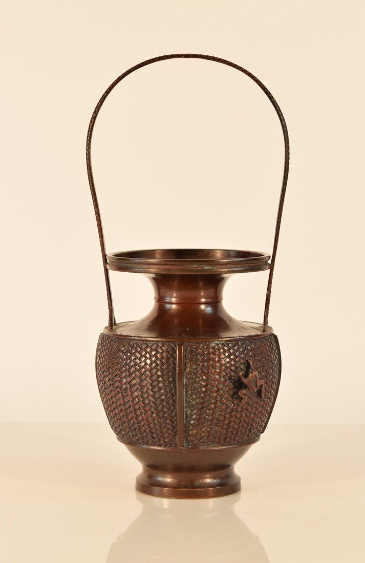 Japanese Bronze Basket with Frog
