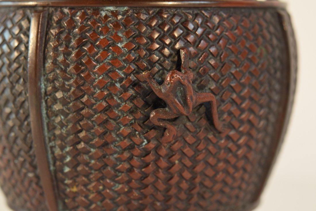 Japanese Bronze Basket with Frog - 2