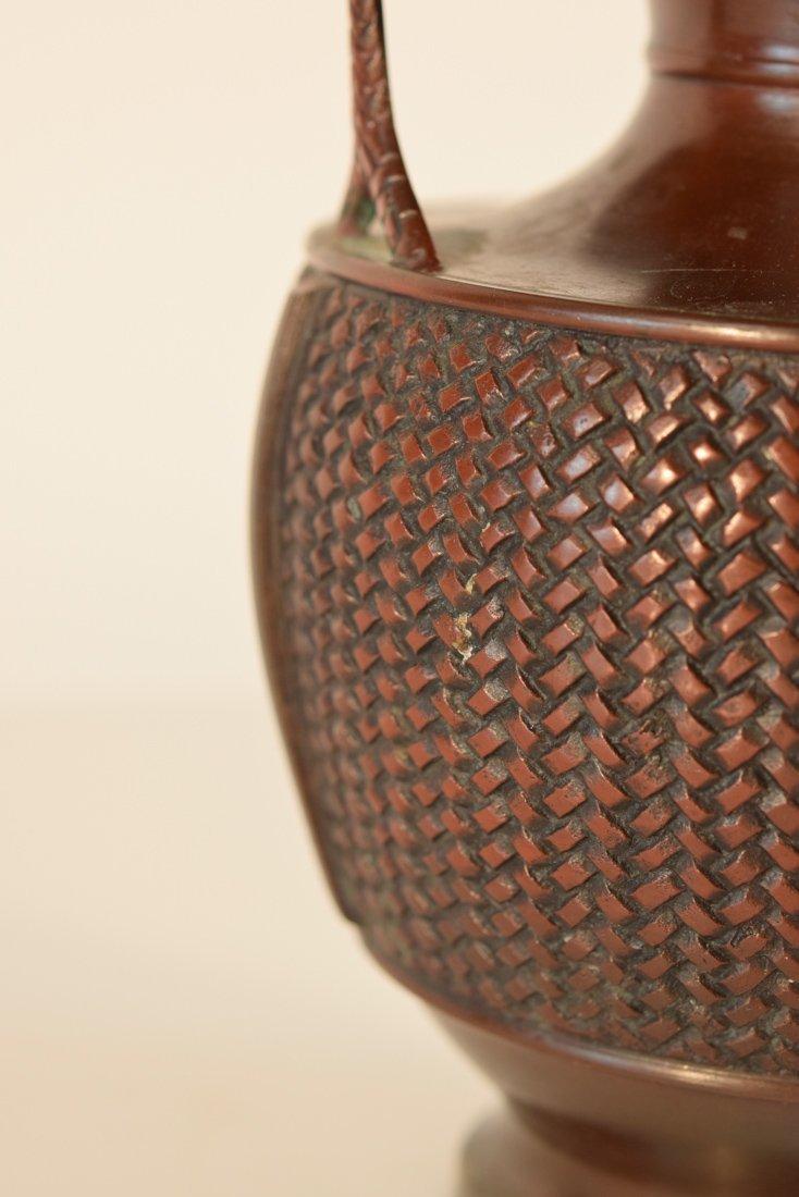 Japanese Bronze Basket with Frog - 5