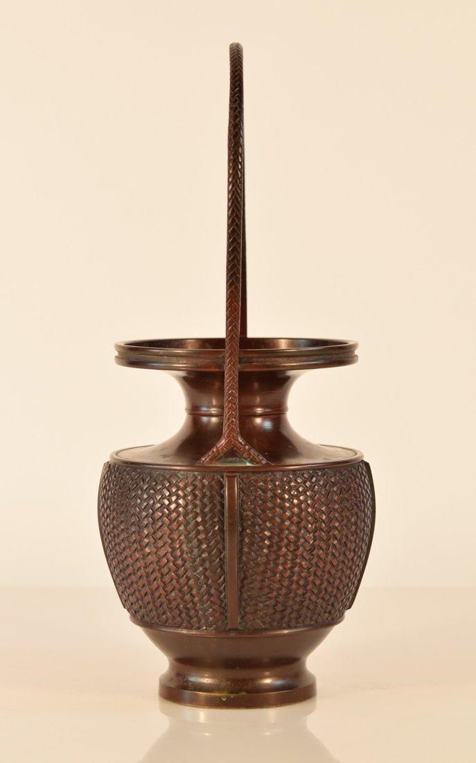 Japanese Bronze Basket with Frog - 6