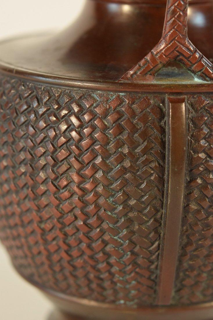 Japanese Bronze Basket with Frog - 7
