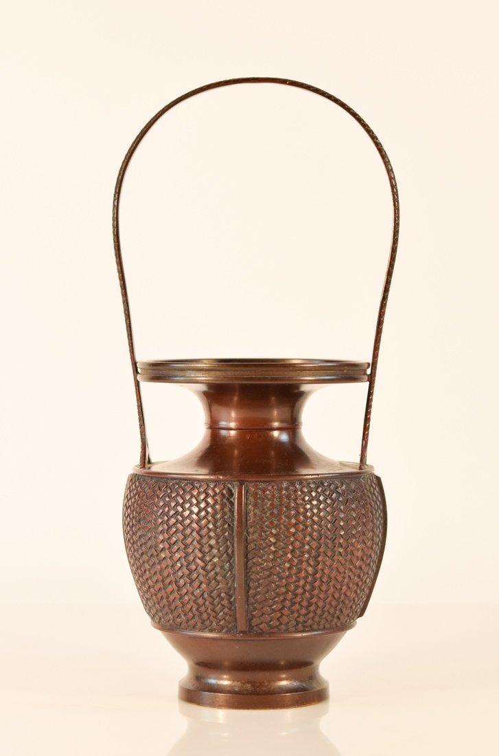 Japanese Bronze Basket with Frog - 8