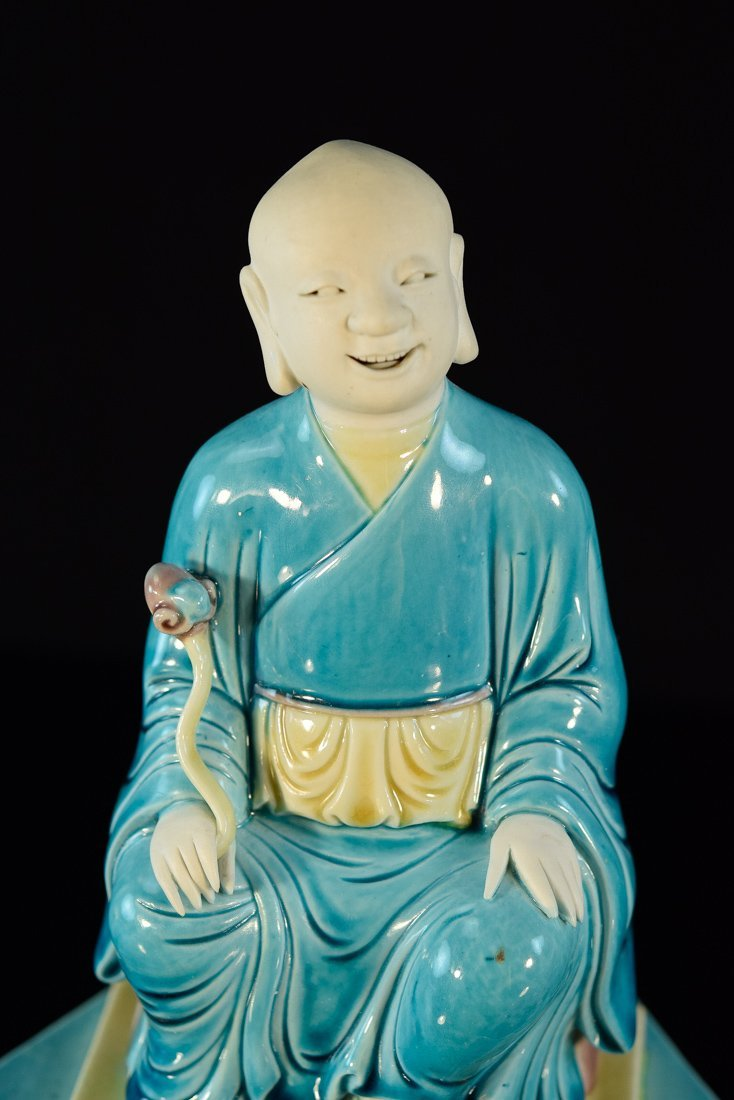 Chinese Porcelain Model of a Seated Lohan on Base - 2