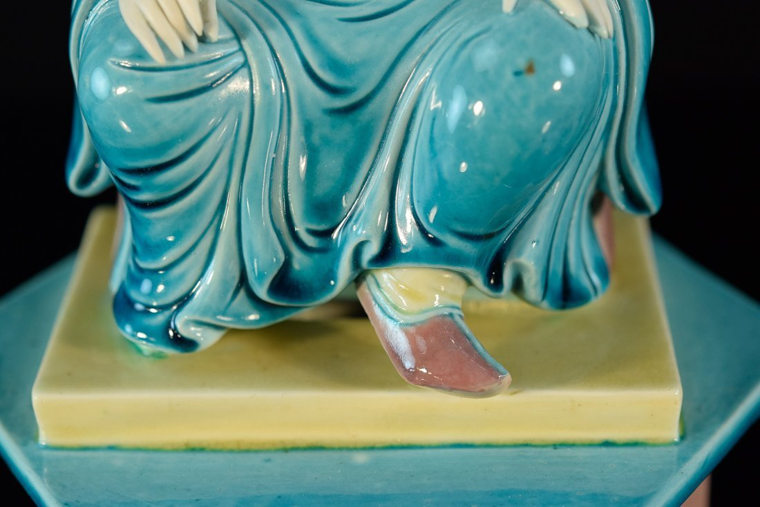 Chinese Porcelain Model of a Seated Lohan on Base - 3