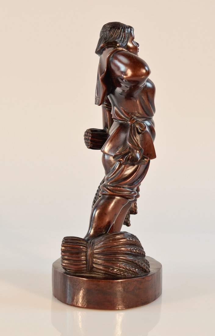 Chinese Carved Long Yan Mu Culture Revolution Girl - 10