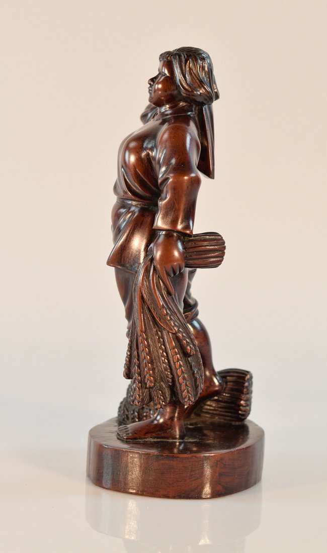 Chinese Carved Long Yan Mu Culture Revolution Girl - 5