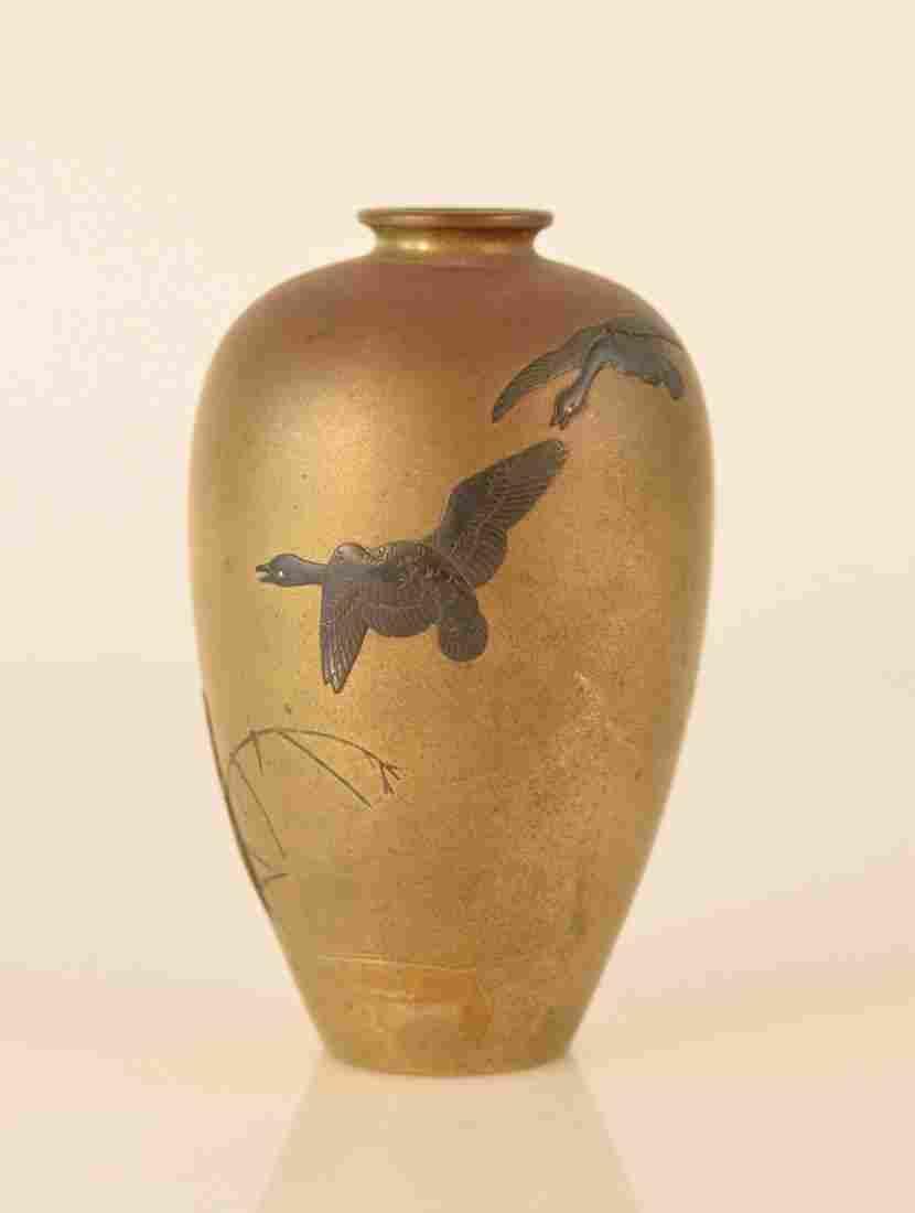 Japanese Bronze Mixed Metal vase with Goose Scene