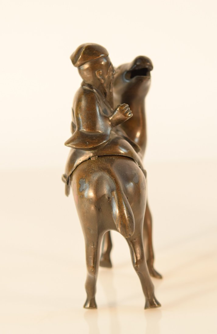 Pair Chinese Bronze Deer with Shoulao - 5