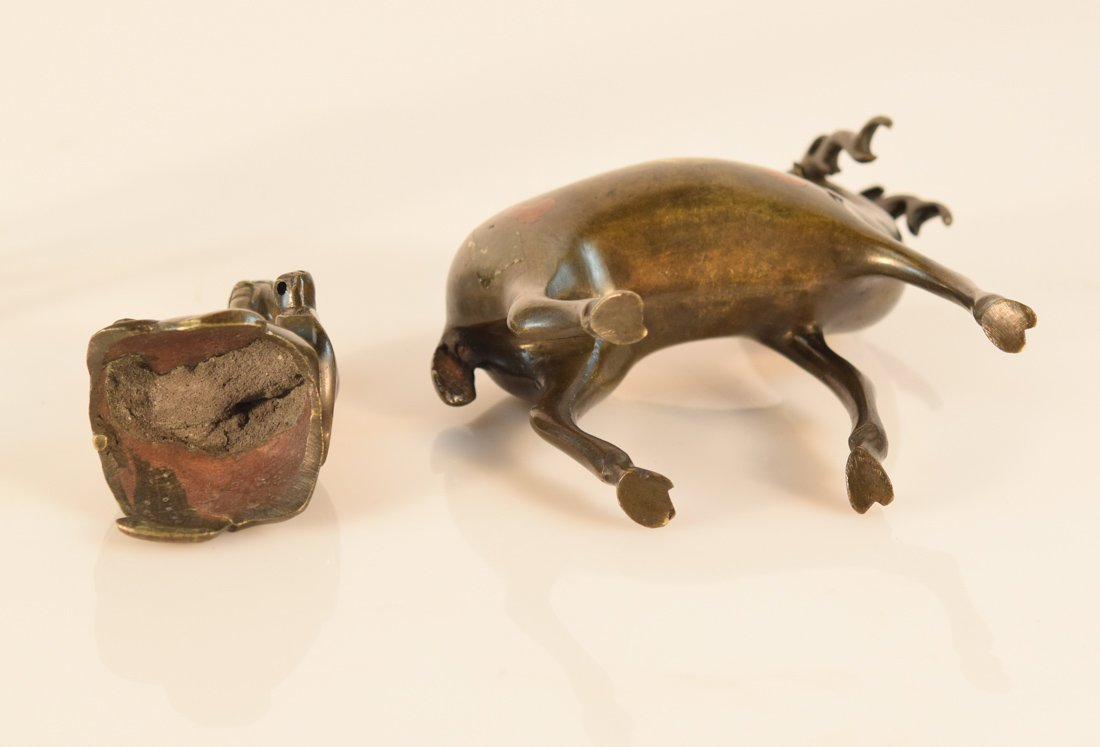 Pair Chinese Bronze Deer with Shoulao - 9