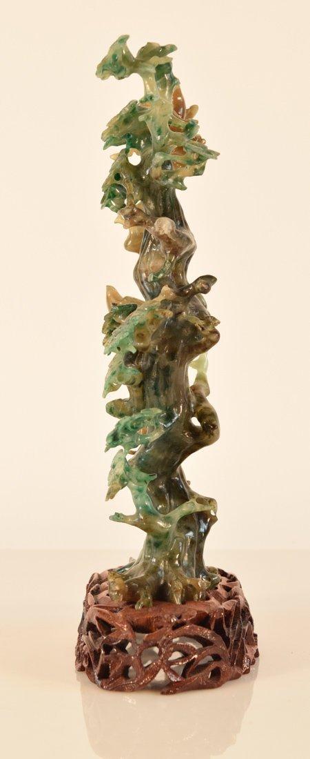 Chinese Hard Stone Jadeite Carving of Bird on Birch - 7