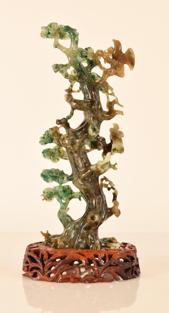 Chinese Hard Stone Jadeite Carving of Bird on Birch - 8