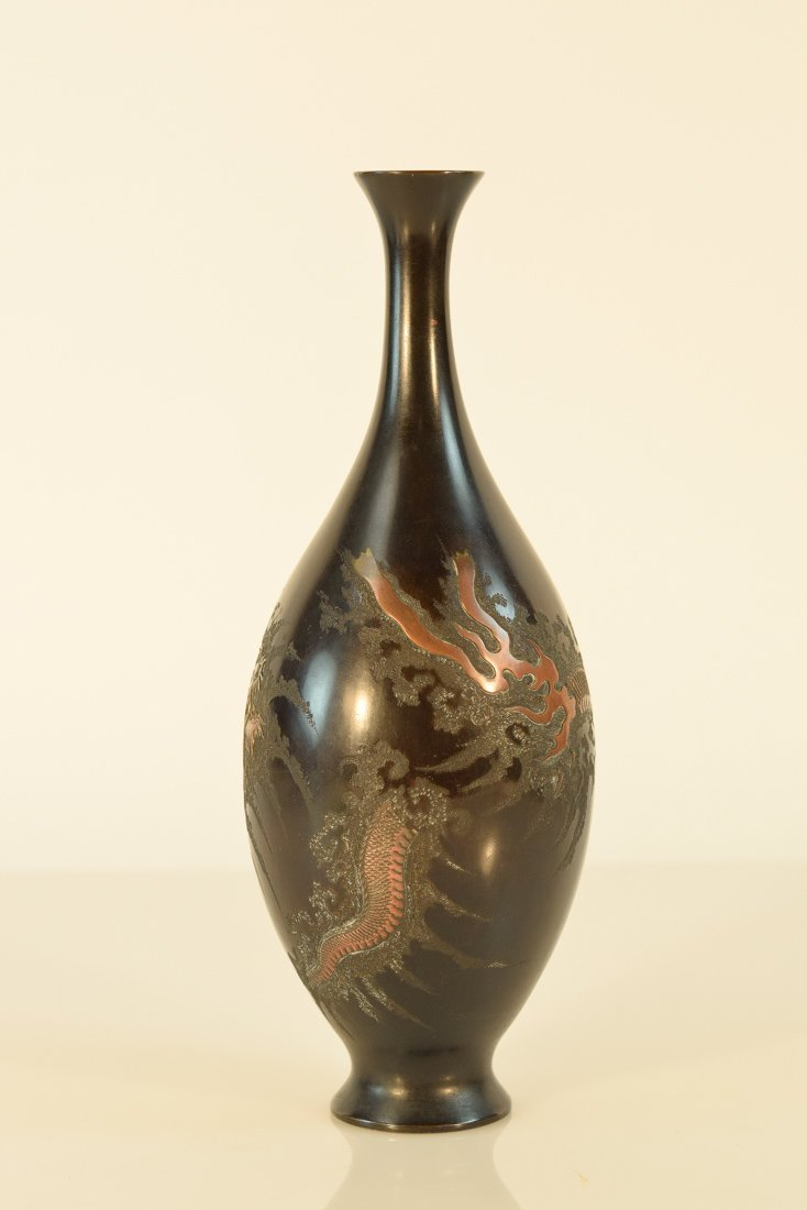 Japanese Mixed Metal Bronze Vase with Dragon Motif
