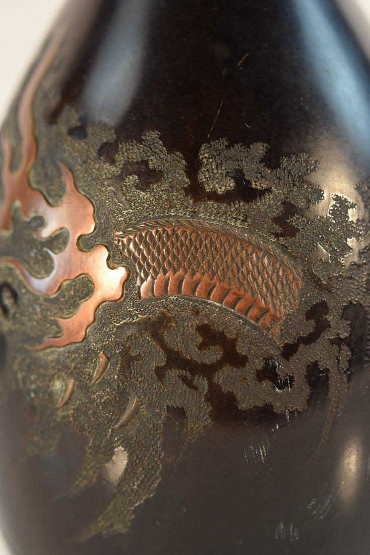 Japanese Mixed Metal Bronze Vase with Dragon Motif - 4