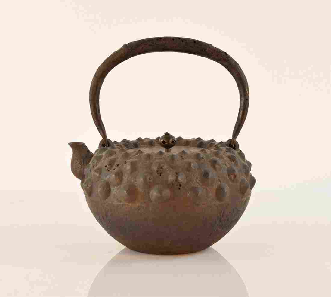 Japanese Iron Teapot with Hobnail Pattern