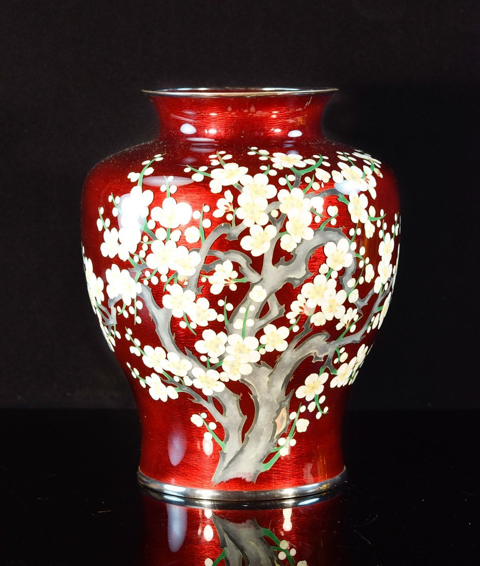 Japanese Pigeon Blood Cloisonné Vase with Cherry