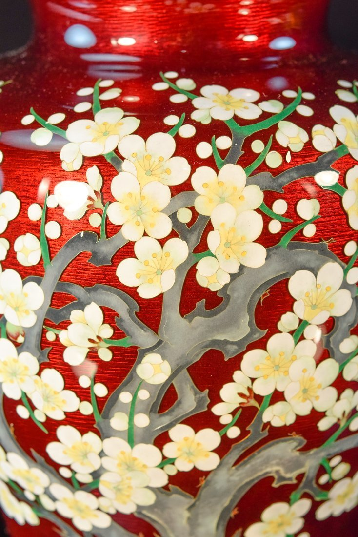 Japanese Pigeon Blood Cloisonné Vase with Cherry - 4