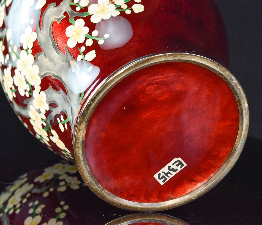 Japanese Pigeon Blood Cloisonné Vase with Cherry - 7