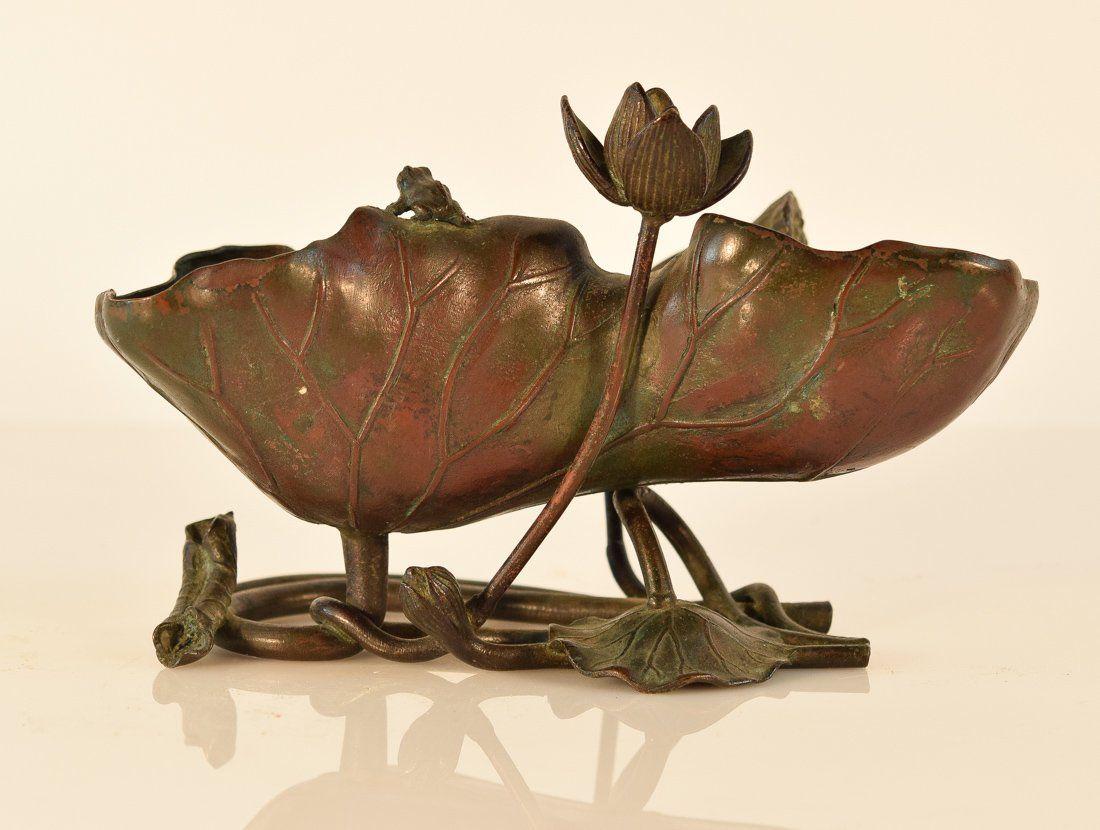 Japanese Bronze Lotus Brush Washer with Frog