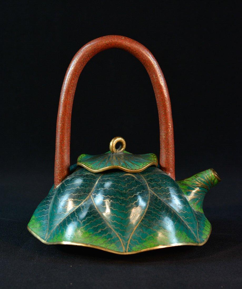 Chinese Cloisonné Teapot of Lotus Shape