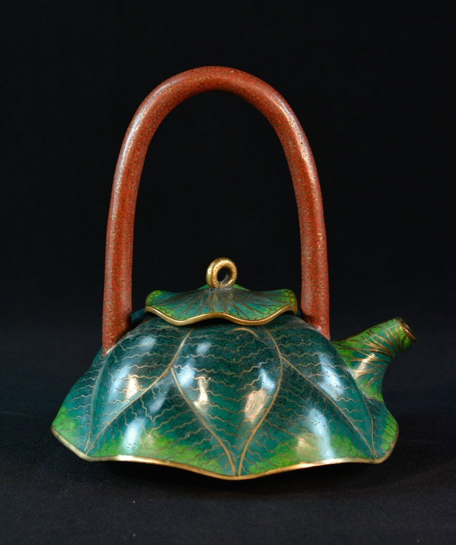 Chinese Cloisonné Teapot of Lotus Shape