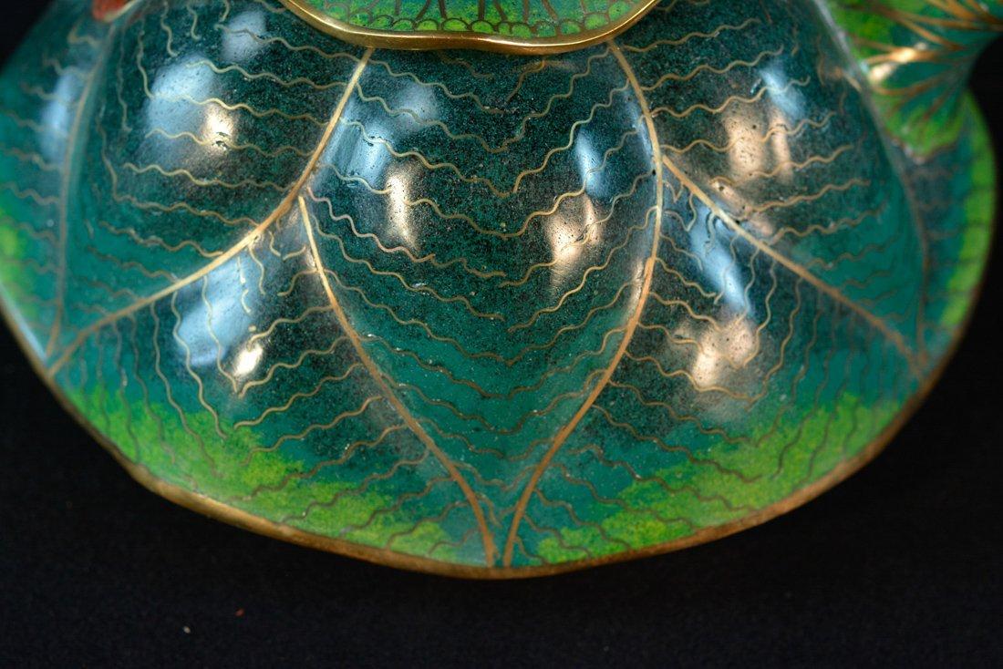 Chinese Cloisonné Teapot of Lotus Shape - 2