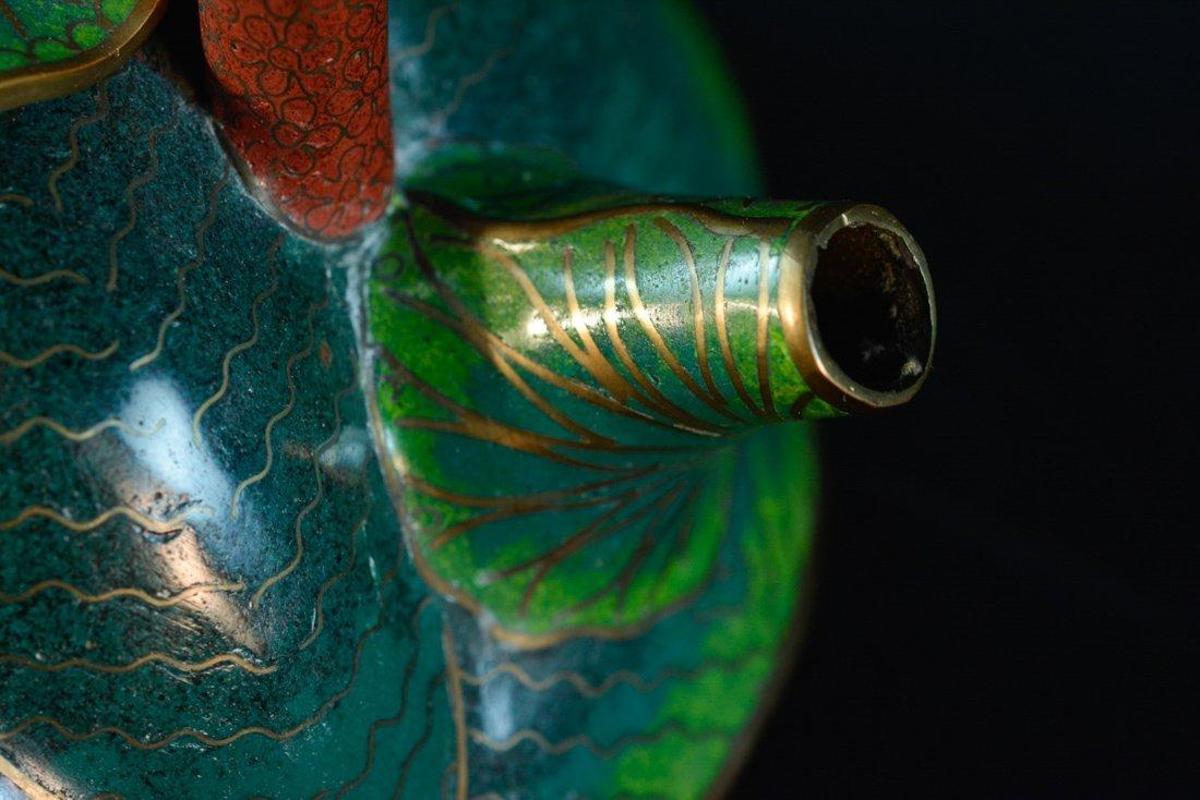 Chinese Cloisonné Teapot of Lotus Shape - 3