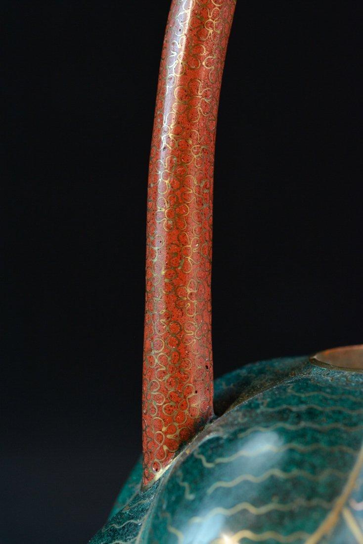 Chinese Cloisonné Teapot of Lotus Shape - 5