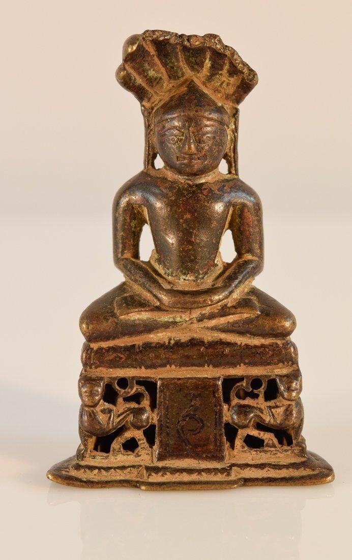 Early Jain Bronze Naga Buddha with Characters