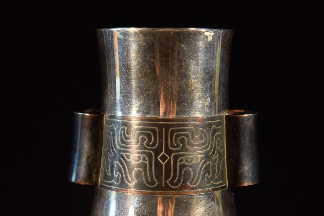 Japanese Silver Vase with Bronze and Silver Inlay - 2