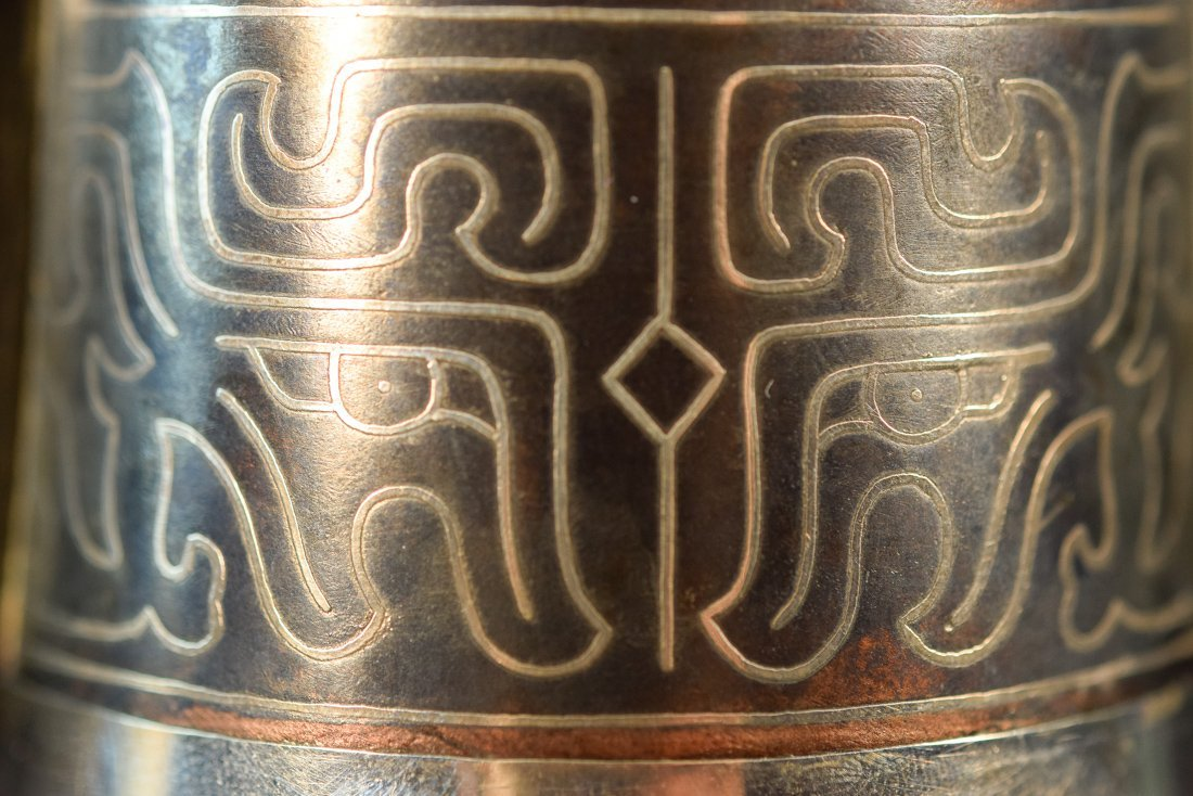 Japanese Silver Vase with Bronze and Silver Inlay - 4