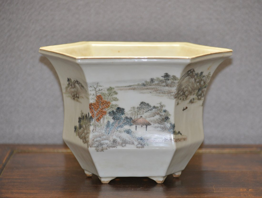 Chinese Porcelain Planter with Landscape and Poems