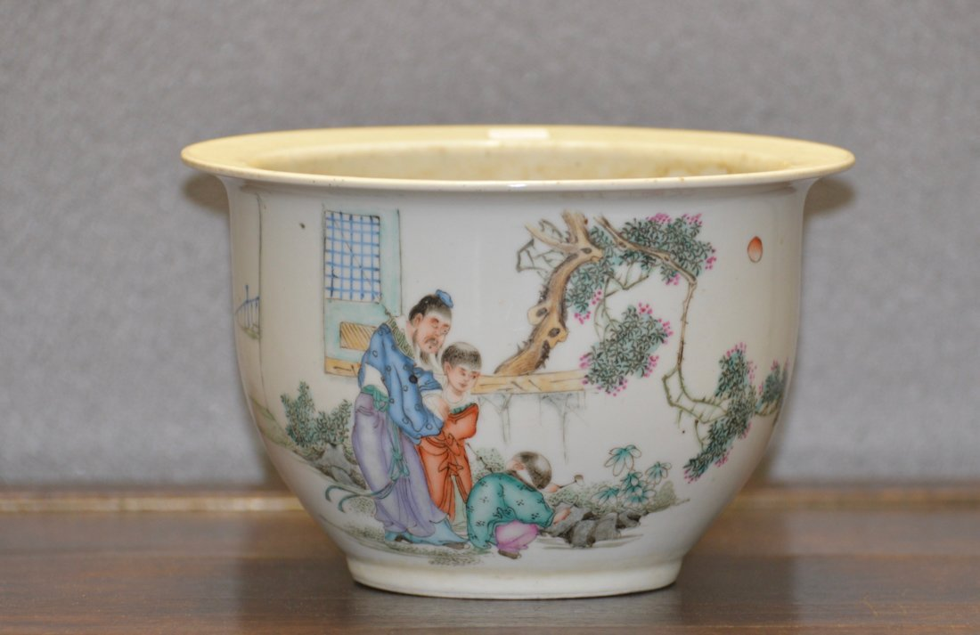 Chinese Porcelain Planter with Figural Scene