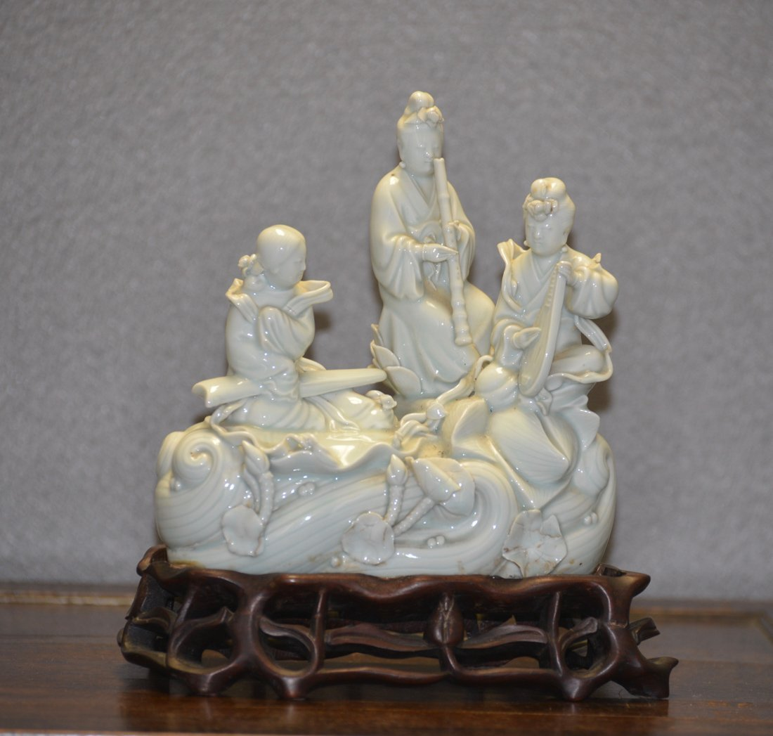 Chinese Blanc de Chine Porcelain Figural Boat
